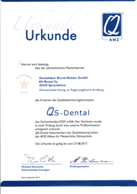 QS-Dental Urkunde